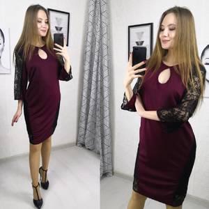 Платье короткое вечернее с кружевом Х7287