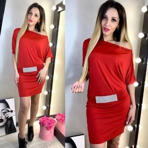 Платье короткое нарядное красное Х7698