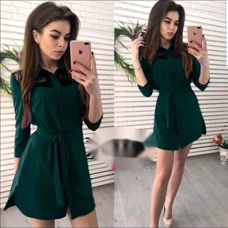 Платье короткое с рукавом 3/4 современное Х7992