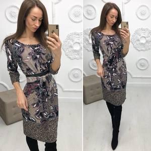 Платье короткое нарядное с принтом Ф2906