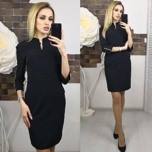 Платье короткое с рукавом 3/4 черное Х5557