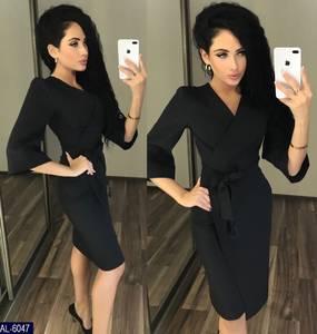 Платье короткое с рукавом 3/4 черное Х7700