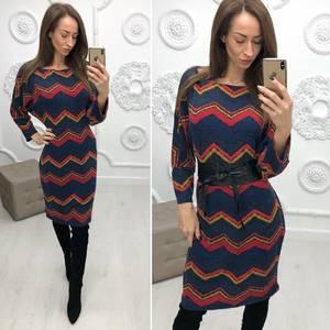 Платье короткое нарядное с принтом Ф2907