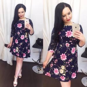 Платье короткое нарядное с принтом Х5049