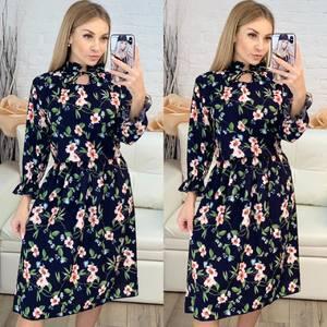 Платье короткое с длинным рукавом с принтом Х8216