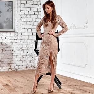 Платье длинное бежевое нарядное Х5600