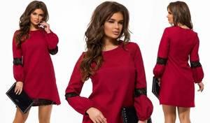 Платье короткое с длинным рукавом красное Х5369