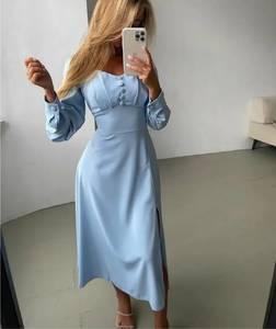 Платье длинное однотонное А53997