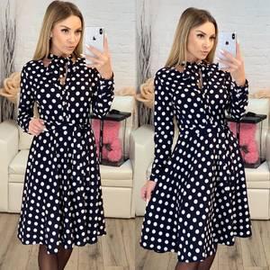 Платье короткое с длинным рукавом с принтом Х3998