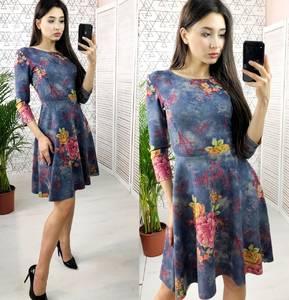 Платье короткое с рукавом 3/4 с принтом Х6635