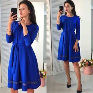 Платье короткое нарядное синее Ф4064