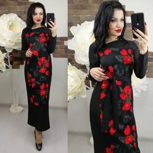 Платье длинное с длинными рукавами нарядное Х6650
