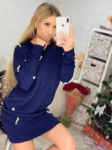 Платье короткое с длинным рукавом синее Ф8067