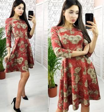 Платье короткое с рукавом 3/4 с принтом Х6636