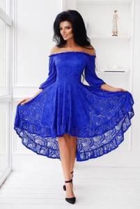 Платье короткое с рукавом 3/4 синее Х6853