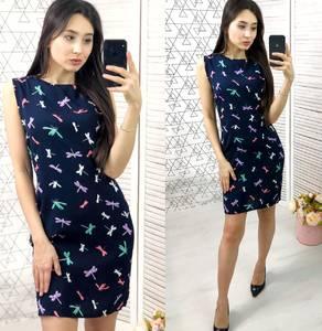 Платье короткое с принтом современное Х8811