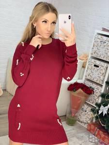Платье короткое с длинным рукавом красное Ф8066