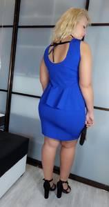 Платье короткое вечернее синее Х3432