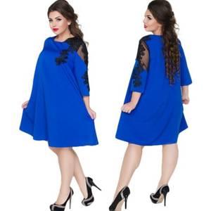 Платье короткое нарядное синее Х6196