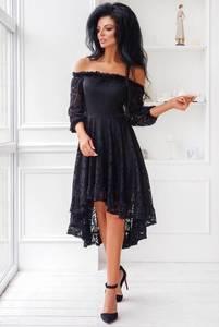 Платье короткое с рукавом 3/4 черное Х6852