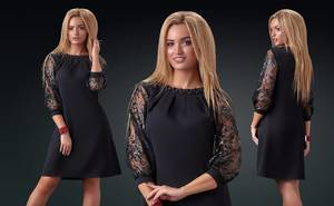 Платье короткое нарядное с рукавом 3/4 Х8502