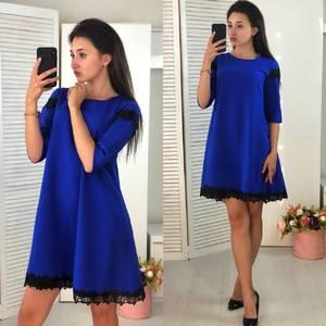 Платье короткое современное синее Ф4067