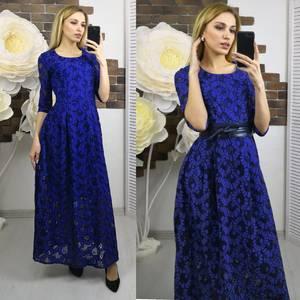 Платье длинное синее нарядное Х5596
