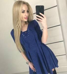 Платье короткое нарядное синее Ф2483