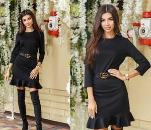Платье короткое черное современное Ф3925
