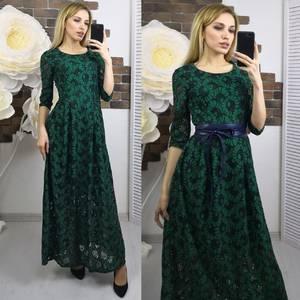 Платье длинное зеленое нарядное Х5595