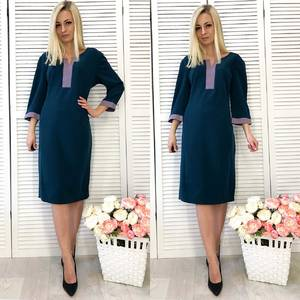 Платье короткое с рукавом 3/4 классическое Ф2304