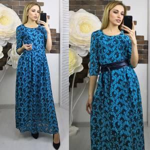 Платье длинное голубое нарядное Х5597