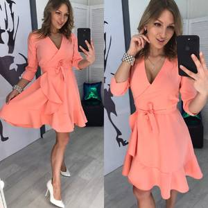 Платье короткое с рукавом 3/4 однотонное Х8036