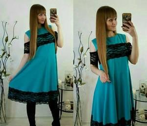 Платье короткое нарядное с кружевом У8101