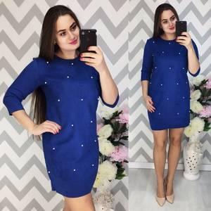 Платье короткое с рукавом 3/4 синее Ф3927
