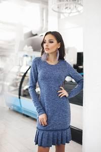 Платье короткое с длинным рукавом синее Ф2489
