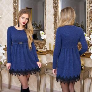 Платье короткое с длинным рукавом синее Ф2490