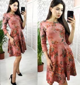 Платье короткое с рукавом 3/4 с принтом Х6637