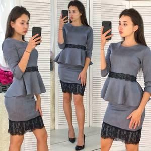 Костюм модный c юбкой серый Ф3932