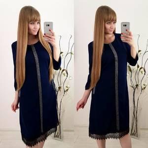 Платье короткое нарядное с кружевом Ф3580