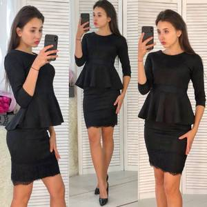 Костюм модный c юбкой черный Ф3931
