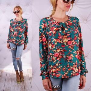 Блуза  с длинным рукавом с цветочным принтом У0081