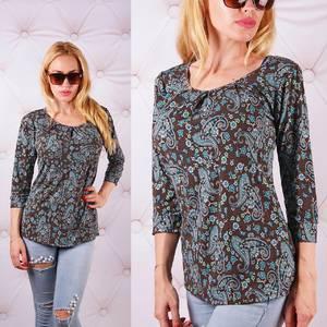 Блуза  с длинным рукавом с цветочным принтом У0095