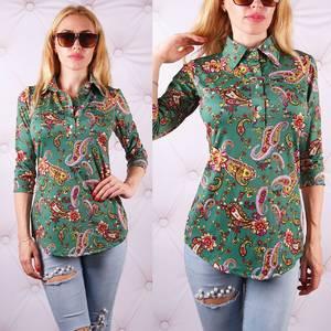 Блуза  с цветочным принтом с коротким рукавом У0089