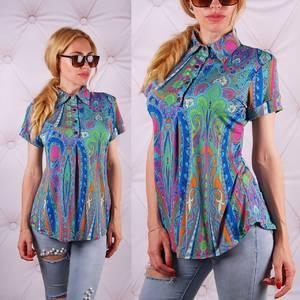 Блуза  с цветочным принтом с коротким рукавом У0090