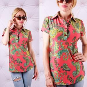 Блуза  с цветочным принтом с коротким рукавом У0091
