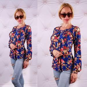 Блуза  с длинным рукавом с цветочным принтом У0085