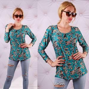 Блуза  с длинным рукавом с цветочным принтом У0082