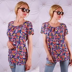 Блуза  с цветочным принтом с коротким рукавом У0086