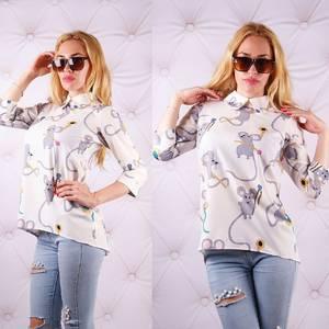 Блуза  с цветочным принтом с коротким рукавом У0094